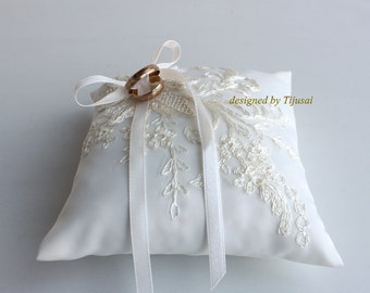 Ring pillow with embroidered lace aplique-ring bearer, ring cushion, ready to ship