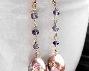 Sale - Save 20% - Lavender Pink Freshwater Nucleated Wrinkle Pearls and Iolite Mixed Metal Dangles