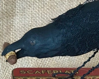 TobacCrow, Or Raven With a Cigar - Hand Carved - Free Shipping Continental USA