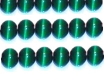 """Cat's Eye Beads, 15"""" Strand, Fiber optic beads - Forest Green - Choose your size"""