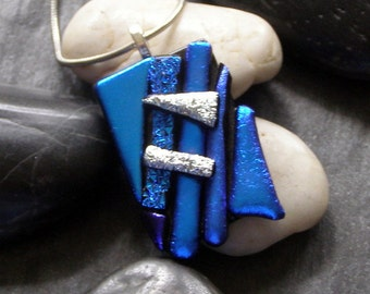 Abstract Blue Silver Fused Glass Pendant, Necklace