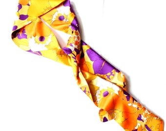 1960's Psychedelic Floral Head Wrap or Scarf . Vibrant Colors . Austin Powers Style . Mod Fashion . Extra Long . Orange Yellow Purple