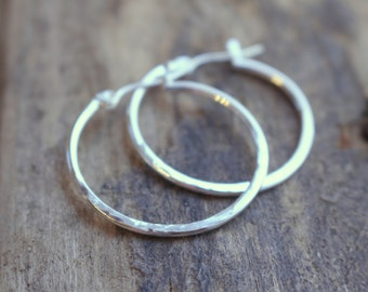 Simple Sterling Silver Lever Back Hoop Earrings