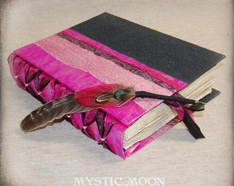MIdnight Magenta Shimmer / XL Handmade Journal / Book of Shadows Journal / Quill Pen / Feather Pen /  Writing Journal / Personalized Journal