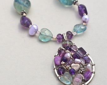Spring Fling, Necklace & Handmade Pendant of Fluorite, Amethyst, Sterling Silver