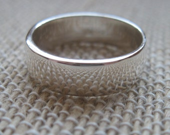 Sterling Silver Ring Band - 5mm wide - Size 6 - Free personalization-Hand Stamped Ring-Silver Ring-Sterling Ring-Wedding Band-Cigar Band