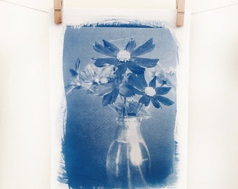 Flower Cyanotype 5x7 Original Art - Still Life on Watercolour Paper - Botanical Artwork - Handmade Photographic Print