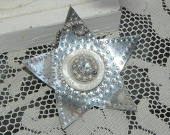 Old Metal Star Reflector Ornament w/Vintage Rhinestone Center~ Package Add On ~Whimsy Decor