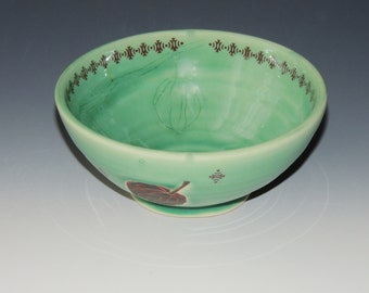 Chinese Lanterns Ceramic Bowl - green porcelain clay dish with seedpods and plants - wheel thrown handmade pottery