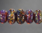 Lampwork Glass Boro Bead Set of 7 With Focal Bead Handmade Juba Glass Deep Amber Sparkle 52a