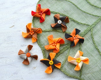 Pinwheel appliques, felt pinwheel, pinwheels for crafts, pinwheel flowers bulk, pinwheels for headbands (set of 8pcs)-ORANGE-BROWN PINWHEELS
