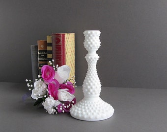 Vintage Milk Glass Hobnail Candleholder, Tall Candleholder, Wedding Decoration, White Wedding Candle Holder