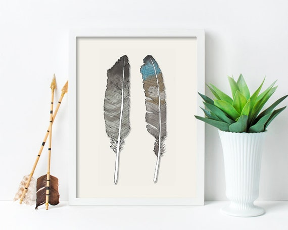 "framed wall art, framed art prints, large framed art, large framed wall art, wall art prints, feathers, watercolor, drawing -""Birds of Prey"""