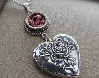 Heart Locket, Necklace, Antique Button, Rose, Red- Pink Tint, Antique Silver Ox, Victorian, Valentine, Timeless Trinkets