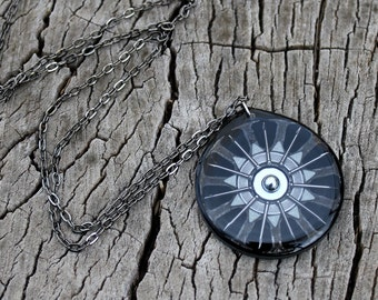 industrial wheel resin pendant in black