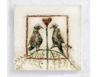 Heart Art - Lovebirds - 5x5 Canvas Print on Art Block - Heart to Heart - Fraktur Folk Art - Love Art - Wedding - Anniversary Gift - Wall Art