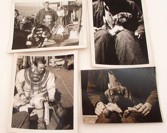 4 Vintage Photographs - Sailors and Dog - 1950s - Navy - Military Ephemera - Candid Snapshots - Puppy