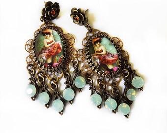 Can Can Girl, Vintage style earrings, Boho Earrings, Opal green, Amber earrings, CanCan, Moulin Rouge, Dance Jewelry, Dance earrings, Gift