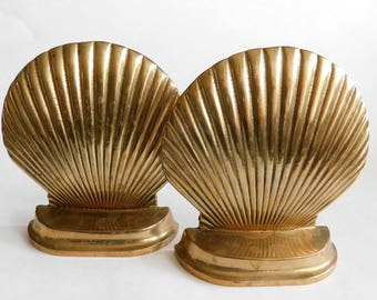 Vintage Brass Seashell Book Ends Set of TWO