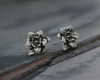 Flower Blossom Lotus Sterling Silver Post Stud Earrings Botanical Floral Posey Bloom Garden Party