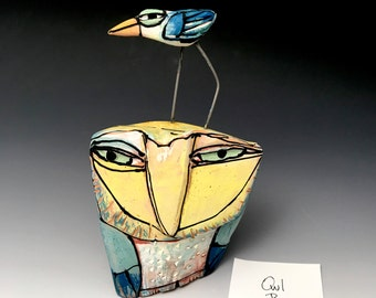 """Owl art, handmade one of a kind ceramic owl art,""""Owl Person and the Dancing Blue Bird."""" 5-5/8"""" tall"""