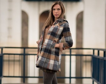 ON SALE Vintage Navy Blue And Tan Plaid Hooded Coat (Size XS)