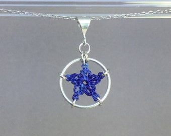 Stars, blue silk necklace, sterling silver