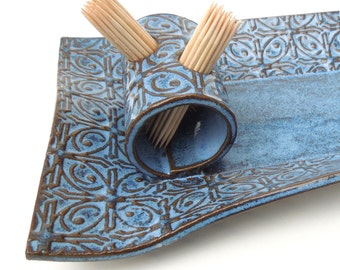 Dark Blue Textured Tin Roof Handmade Ceramic Pottery Rectangular Appetizer Serving Toothpick Plate Tray