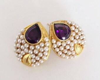Amethyst and Pearl Leaf earring
