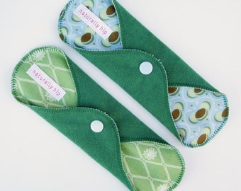 "Set of 2 8"" Suedecloth Regular Cloth Menstrual Pads, Green & Blue Diamonds Hearts, Washable Reusable Pad, Incontinence Pad, Cloth Sanpro CSP"