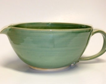 Large Green Pottery Batter Bowl with Pour Spout and Handle