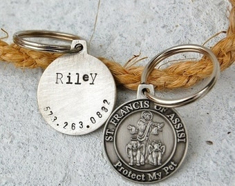 Our dog tags make a unique personalized gift. Each pet id tag is crafted in our Bozeman, Montana studio by dog lovers. St. Francis Pet Tag