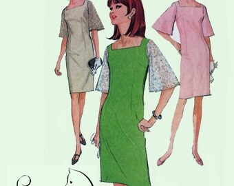 60s MOD Wiggle Dress with Bell Sleeves McCalls 8307 Vintage 1960s Sewing Pattern Size 12 Bust 32