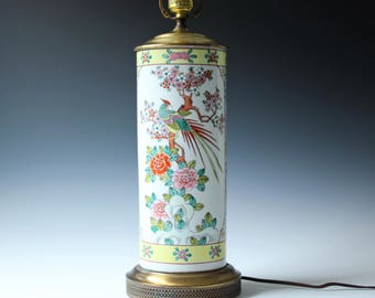Antique Chinese Famille Rose porcelain table lamp -  Asian  Hollywood Regency
