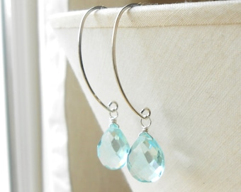 Silver Drop Earrings, Aquamarine Quartz Briolette Dangle, Long Sterling Silver Earrings