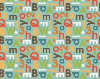 School Days Alphabet Mint Fabric by the Yard by Riley Blake