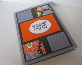 Lavender and Orange Greeting Card for a Great Friend