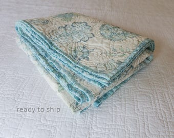 RESERVED for UH - Aqua and White Linen Throw or Lap Quilt Whole Cloth Quilted Jacobean Floral Fabric by Braemore with Aqua Batik Backing