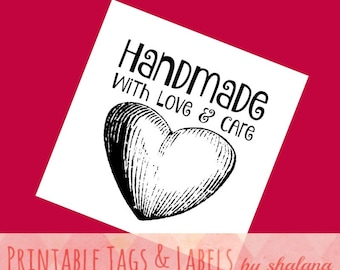 """Printable PDF Tags for DIY Handmade Crafts - """"Handmade with Love and Care"""" Heart Labels - Great for Craft Shows and Holiday Gift Tags"""