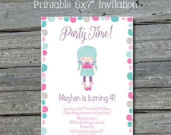Whimsical Birthday Invitation |  Cute Printable Invite for girls | Rustic Funky Party Invite | Teal Pink Digital Download | Printable Invite