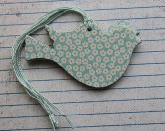 22 Bird Tags Aqua daisy floral patterned paper over chipboard