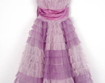 Lilac Lady Tulle and Satin 1950's Prom Party Dress