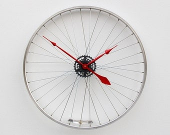 Large Wall Clock, Bike Wheel Clock, Cyclist Gift, Unique Wedding Gift, Steampunk Decor, Bicycle Wall Clock, Modern Wall Clock, recycled gift