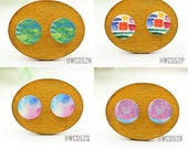 Buy 1 Get 1 Free - Wooden Colored Cabochon Button, 12mm 15mm 20mm  Round Handmade Photo Wood Cut Colorful  Cabs