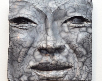 Black and White Buddha Face Tile in Naked Raku: Handmade One of a Kind Wall Hanging 5 X 5