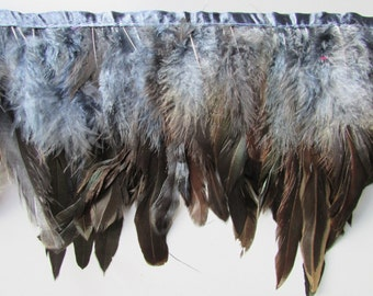 Top Quality Coque Feather Fringe sold by the metre for sewing costume millinery in Colours Grey Brown Dark Brown Pure Black Salmon
