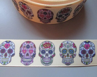 Gold Sugar Skull Calaveras Day of the dead Grosgrain Ribbon x 1 metre