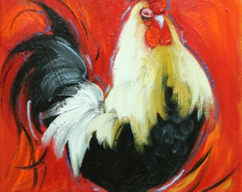 Rooster 853 12x12 inch animal portrait original oil painting by Roz