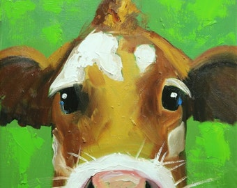 Cow painting 1191 12x12 inch original animal portrait oil painting by Roz