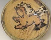 Horse plate mini slip trailed pottery dish